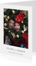 Eenvoudige moderne kerstkaart met grote foto en tekst
