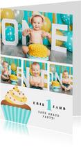 Einladung 1. Geburtstag Fotos & Cupcake blau