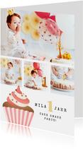 Einladung 1. Geburtstag Fotos & Cupcake rosa