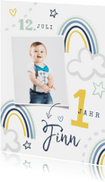 Einladung 1. Geburtstag Junge eigenes Foto & Regenbogen