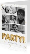 Einladung Geburtstag Fotocollage, Konfetti & Partyballons