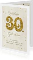Einladung Geburtstag Glittergold 30