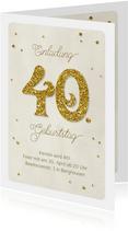 Einladung Geburtstag Glittergold 40