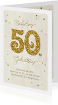 Einladung Geburtstag Glittergold 50