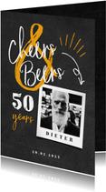 Einladung Geburtstag Kreidelook mit Foto 'Cheers & Beers'