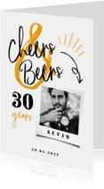 Einladung Geburtstag weiß mit Foto 'Cheers & Beers'