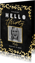 Einladung 'hello thirty' mit Foto und Animalprint