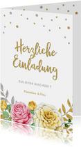 Einladung Hochzeitsjubiläum rosa und gelbe Rose