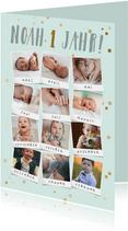 Einladung Kindergeburtstag 12 Monate Polaroid Fotocollage