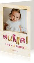 Einladung Kindergeburtstag HURRA Luftballonschrift Mädchen