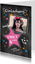Einladung Kindergeburtstag Kreidelook Foto pink