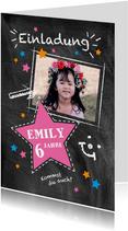 Einladung Kindergeburtstag Kreidetafel mit Foto pink