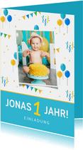 Einladung Kindergeburtstag Luftballons, Konfetti und Foto