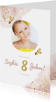 Einladung Kindergeburtstag mit Foto und goldenen Herzen