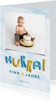 Einladung Kindergeburtstag mit HURRA Luftballonschrift Junge