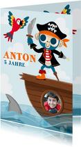 Einladung Kindergeburtstag Pirat mit Foto