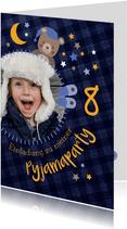 Einladung Kindergeburtstag Pyjamaparty Teddy, Mond & Sterne