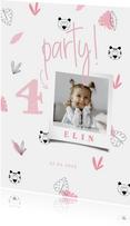 Einladung Kindergeburtstag rosa Dschungel Muster und Foto