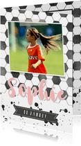 Einladung Kindergeburtstag rosa Fußballhintergrund mit Foto