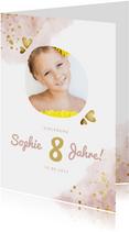 Einladung Kindergeburtstag rundes Foto und goldene Herzen