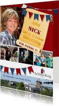 Einladung Kindergeburtstag Schloss Burg Wupper blau-rot