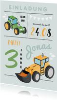 Einladung Kindergeburtstag Traktor, Bagger und Foto innen