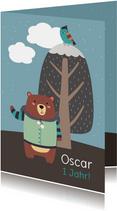 Einladung Kindergeburtstag Winterlandschaft & Bär