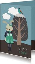 Einladung Kindergeburtstag Winterlandschaft & Hasenmädchen