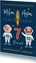 Einladung Kindergeburtstag Zwilling Astronauten