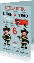 Einladung Kindergeburtstag Zwilling Feuerwehr