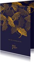 Einladung Kommunion Ginkgoblätter Stempel blau Foto innen