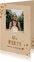 Einladung 'let's party' zum 21. Geburtstag in braun mit Foto