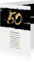 Einladung mit goldener 50 auf Schwarz