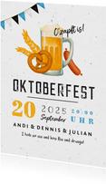Einladung Oktoberfest Brezel, Bier & Wurst