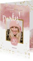 Einladung Party Foto Wasserfarbe & Tupfen