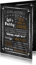 Einladung Rente-Party auf Kreide