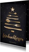 Einladung Weihnachtsessen Besteck-Weihnachtsbaum