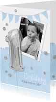 Einladung zum 1. Geburtstag blau Silberballon und Foto
