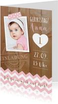 Einladung zum 1. Geburtstag Pink Sweetheart
