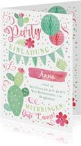Einladung zum 14. Geburtstag in sommerlichen Farben