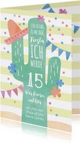 Einladung zum 15. Geburtstag mit Kaktus