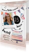 Einladung zum 15. Geburtstag Wasserfarbe und Torte mit Foto