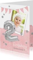 Einladung zum 2. Geburtstag mit Foto und Silberballon