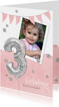 Einladung zum 3. Geburtstag mit Foto und Silberballon