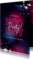 Einladung zum Firmenjubiläum 'Hooray' Neon pink