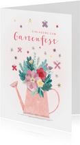 Einladung zum Gartenfest Gießkanne mit Blumen
