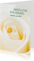 Einladung zum Geburtstag Klassische Rose crème