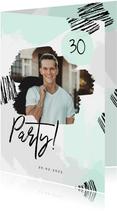 Einladung zum Geburtstag mit Foto und Farbstreifen