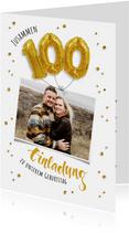 Einladung zum gemeinsamen Geburtstag 100 Ballons