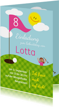 Einladung zum Golf-Kindergeburtstag Hole-in-one pink